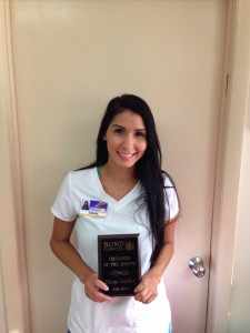 "Congratulations to the winner of the ""Employee of the Month"" contest for July 2015, Diana Walker. Diana has worked for the Clinic since 2010 and works as a LPN for Dr. J. Edwards. Congratulations!"
